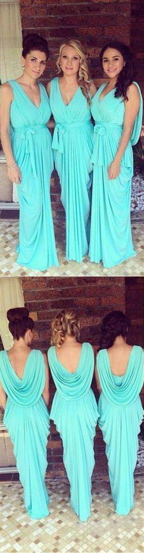 fef550ea742 Fashion Turquoise Blue V- Neck Backless Chiffon Bridesmaid Dress Long Prom  Dresses  BLUE