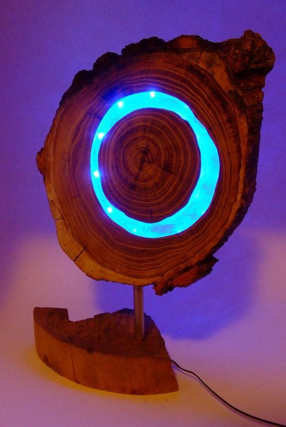 Wooden blue LED lamp, Acaciawood with clear epoxy resin