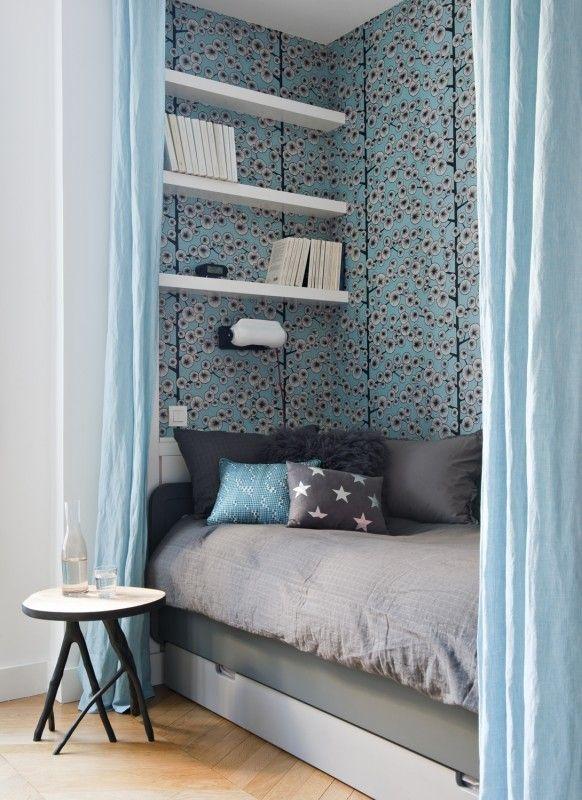 Papier peint \ - deco chambre turquoise gris