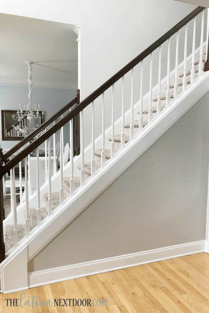 Update Your Foyer To A More Elegant Space The L*T*N* Next Door | Wall To Floor Handrail | Glass | Paint Colors | Staircase | Wrought Iron | Concrete