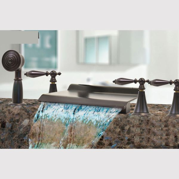 Kokols Oil Rubbed Bronze Waterfall Bath Tub Shower Faucet Set ...