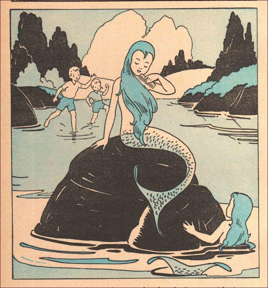 Старинные открытки русалки