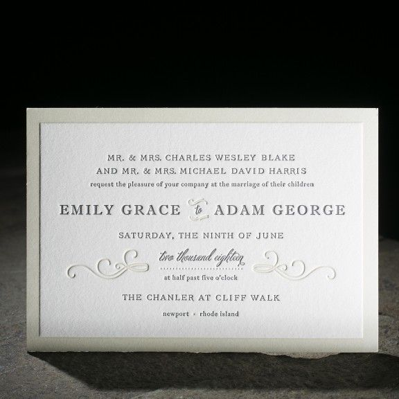 Traditional Letterpress Wedding Invitations From Smock With The