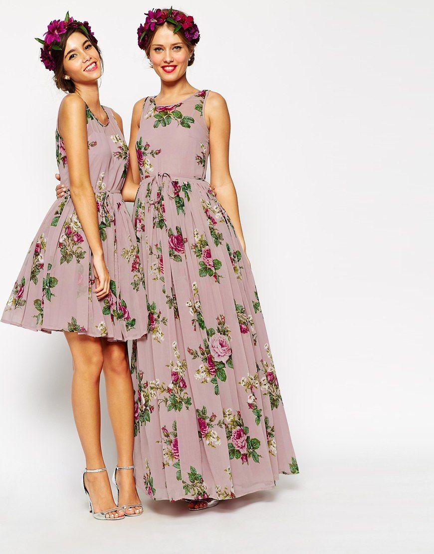 Image 4 Of ASOS PETITE WEDDING Super Full Maxi Dress In Floral Print