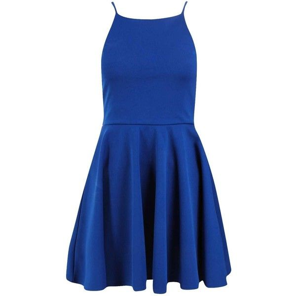 Petite Sara Cut Away Neckline Skater Dress (44 CAD) ❤ liked on Polyvore featuring dresses, petite skater dress, blue skater dress, blue dress, petite dresses and skater dress
