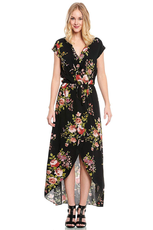 48ab1a634a0 Truly Me Women s Gorgeous Split Floral Print Flowy Faux Wrap Boho Maxi Dress  at Amazon Women s