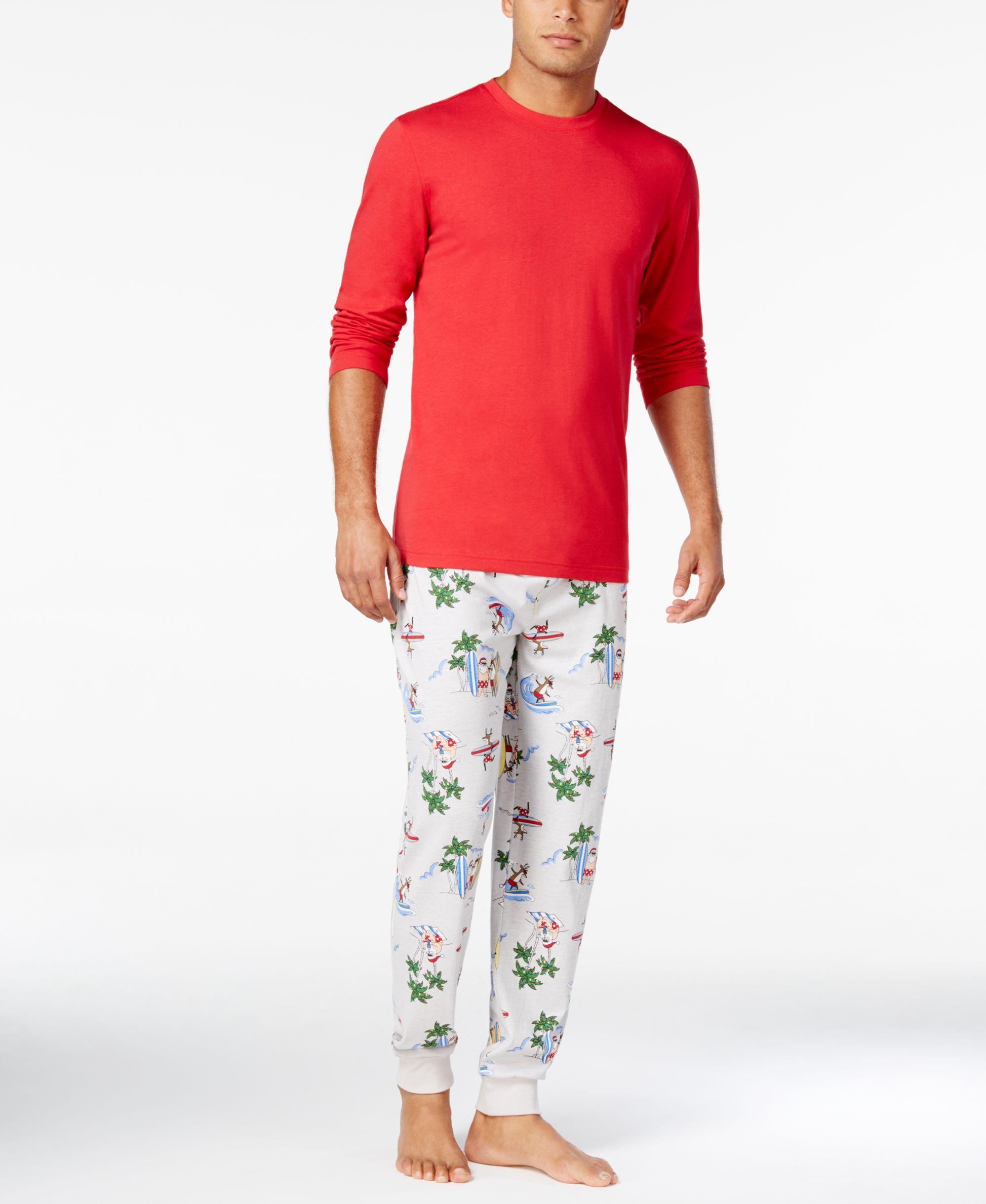Family Pajamas Men's Tropical Santa Mix-It Pajama Set, Only at Macy's