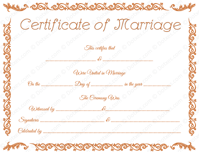 marriage certificate template doc