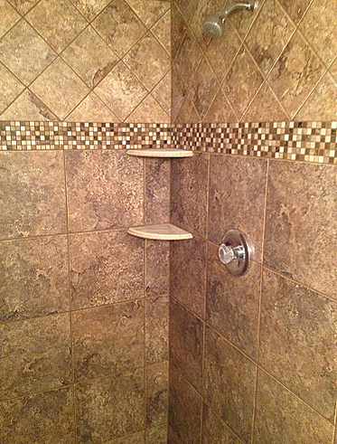 Stand Up Shower Installation Brandon Florida 12x12 6x6 Porcelain Wall Tile With A Copper Mar Shower Installation Master Bathroom Shower Porcelain Wall Tile