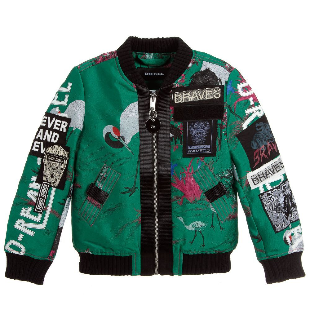 A Stunning Mini Me Green Bomber Jacket For Boys And Girls By Diesel It Is Made In Polyester Silk Jacquard With A Bird And Blossom Design And Has Logo Patches [ 1000 x 1000 Pixel ]