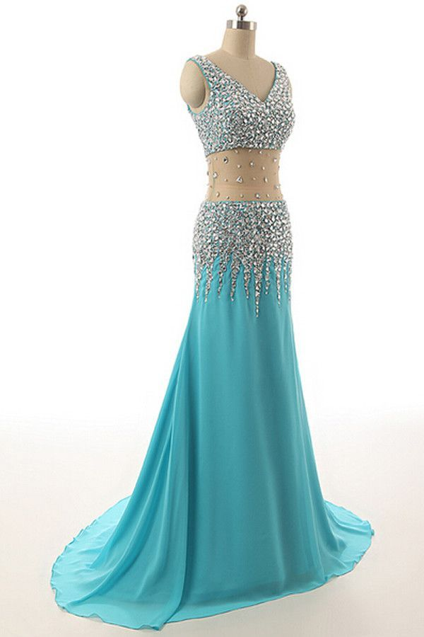 V-neck Light Sky Blue Beaded Long Prom Evening Dresses 14 | Stuff ...