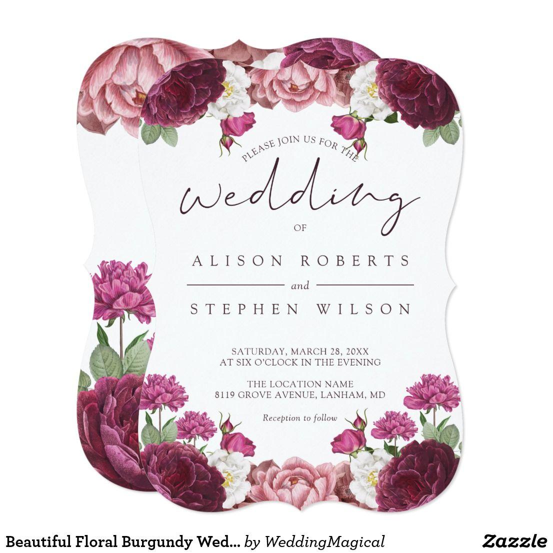 Beautiful Floral Burgundy Wedding Invitation