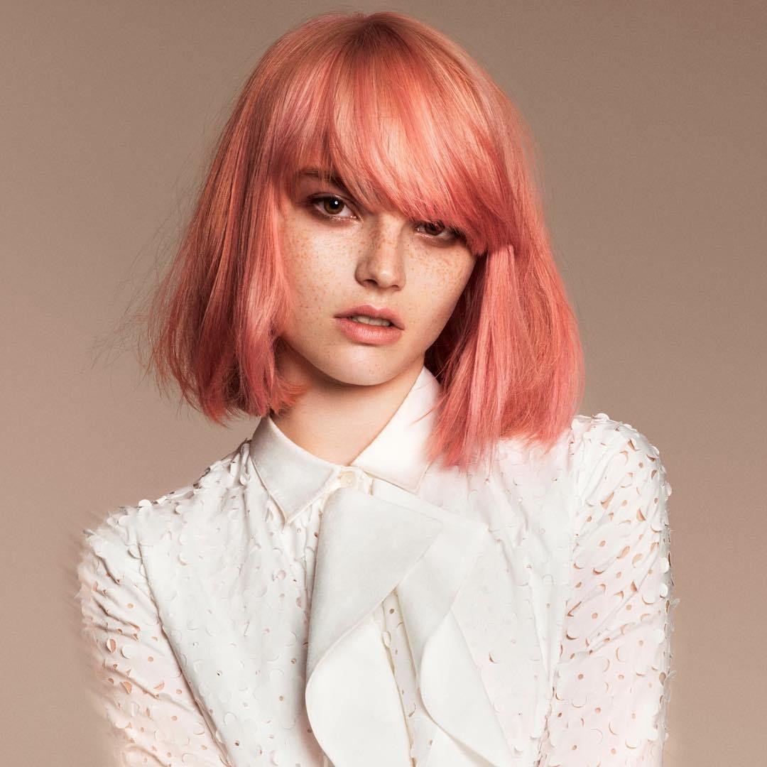 Pastel+Pink+Bob+With+Bangs