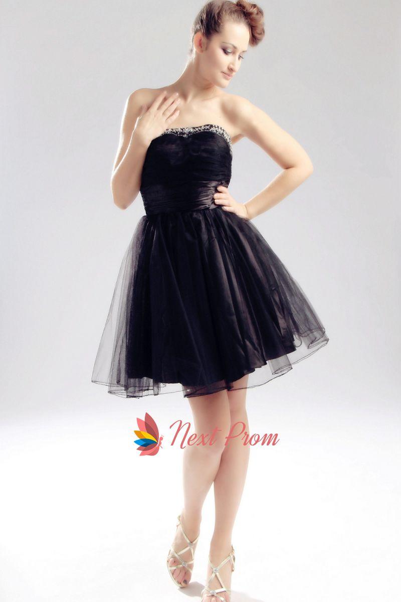 Strapless Little Black Tail Dress Short Tulle Prom