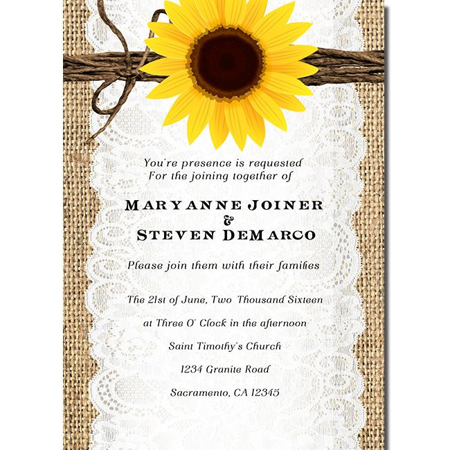 Rustic Burlap Sunflower Themed Invitation Perfect For