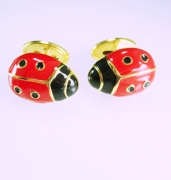 Lady Bug Beetle Cufflinks Good Luck Symbol Virgin Mary Religious