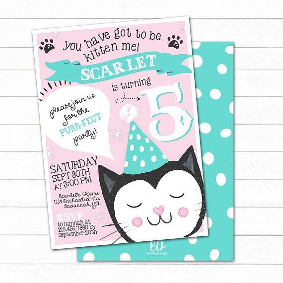 Cat Birthday Invitation Cat Invite Kitty Cat Party Cat Kitty Party