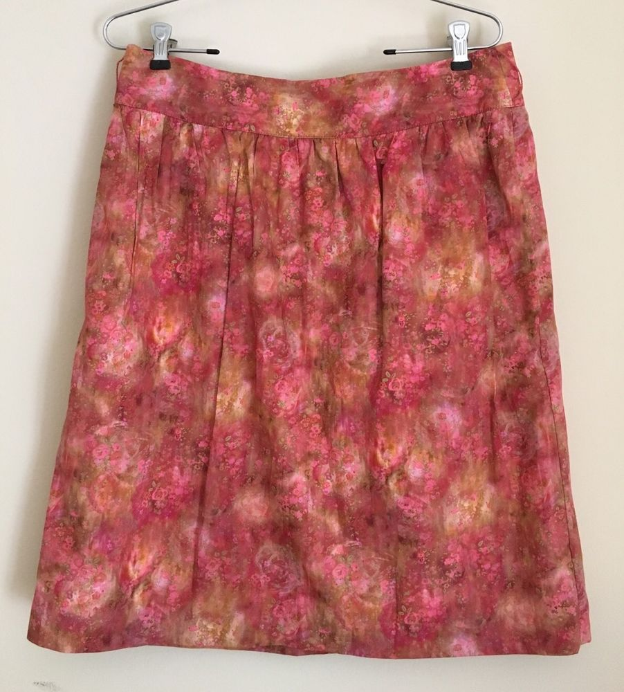 BROOKS BROTHERS LIBERTY ART FABRICS DESIGN WOMENS SKIRT Peach Red Floral SZ 10 #BrooksBrothers #WrapSarong