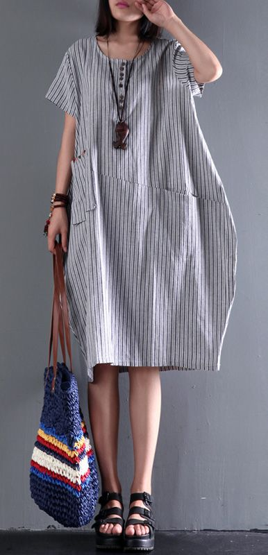 895560d49ecc 2017 new gray linen dress plus size sundress cotton summer dresses ...