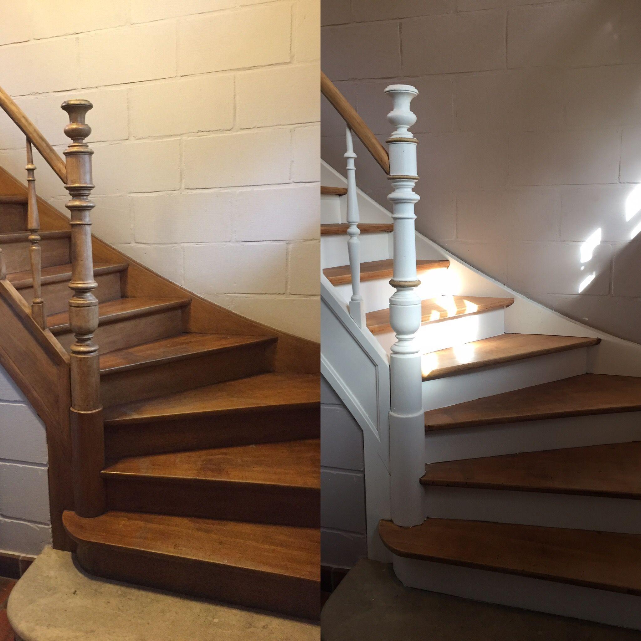 Avant Apres Escalier En Bois Peint Peindre Escalier Bois Escalier Bois Escalier