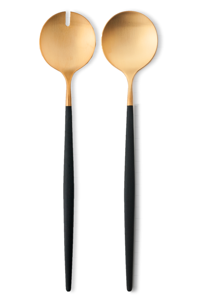 Goa Salad Servers Brushed Gold And Black Handle In 2020 Food