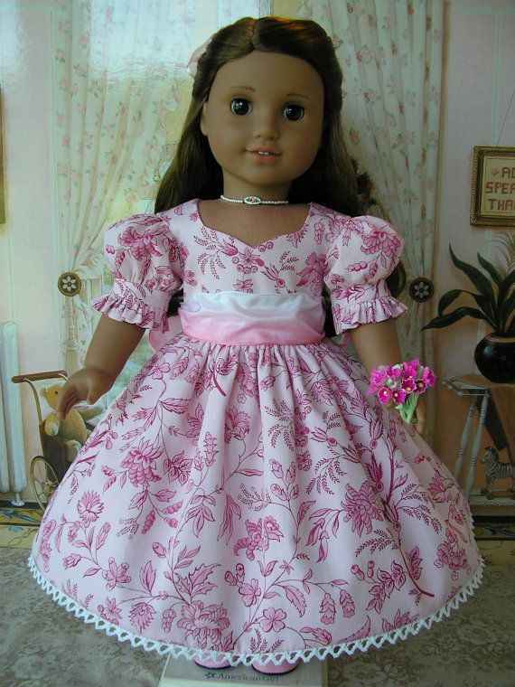 American Girl doll mid-1800s or present day tea-length dress, hairbow, nosegay