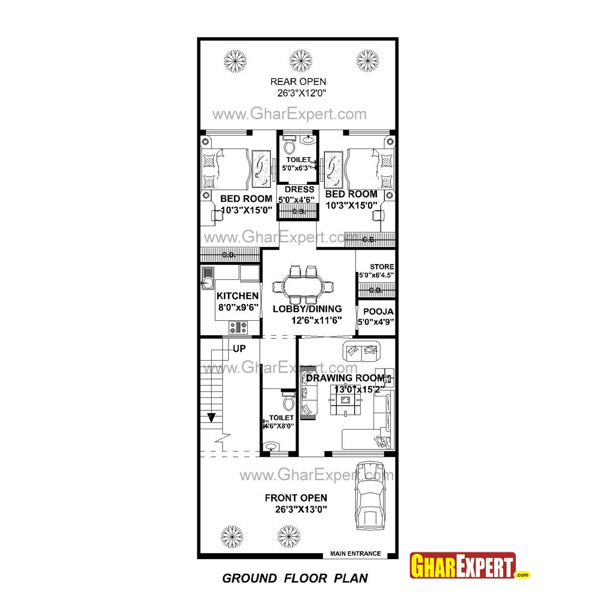 House Plan For 27 Feet By 70 Feet Plot Plot Size 210 Square Yards Gharexpert Com In 2020 House Plans How To Plan Ground Floor Plan