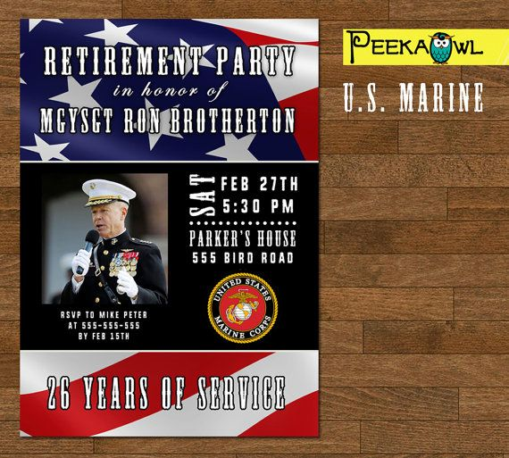 printable military retirement party invitation card by