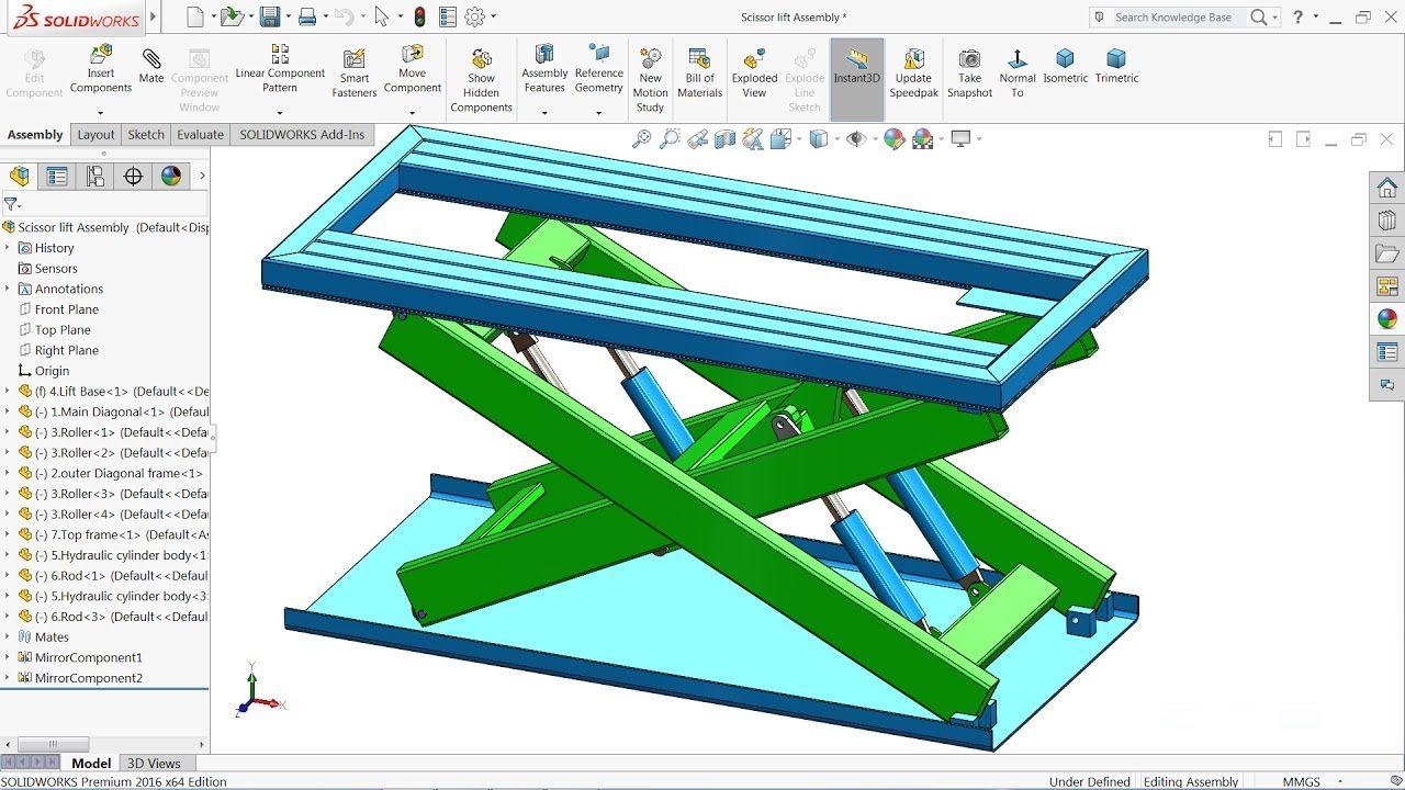 solidworks tutorial design and assembly scissor lift in solidworks rh pinterest com