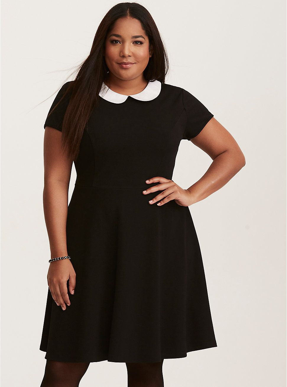 6f5b38f6605 Plus Size Textured Skater Dress