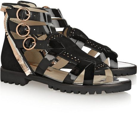 Love this: SOPHIA WEBSTER Marnee Embellished Suede and Patentleather Sandals @Lyst
