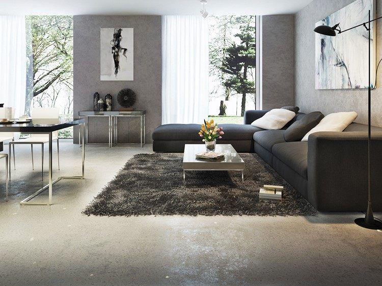Industrieboden Wohnzimmer ~ Modernes wohnzimmer in grautönen metallglanz estrich bodenbelag