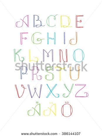 cute vector hand drawn multicolored swedish alphabet