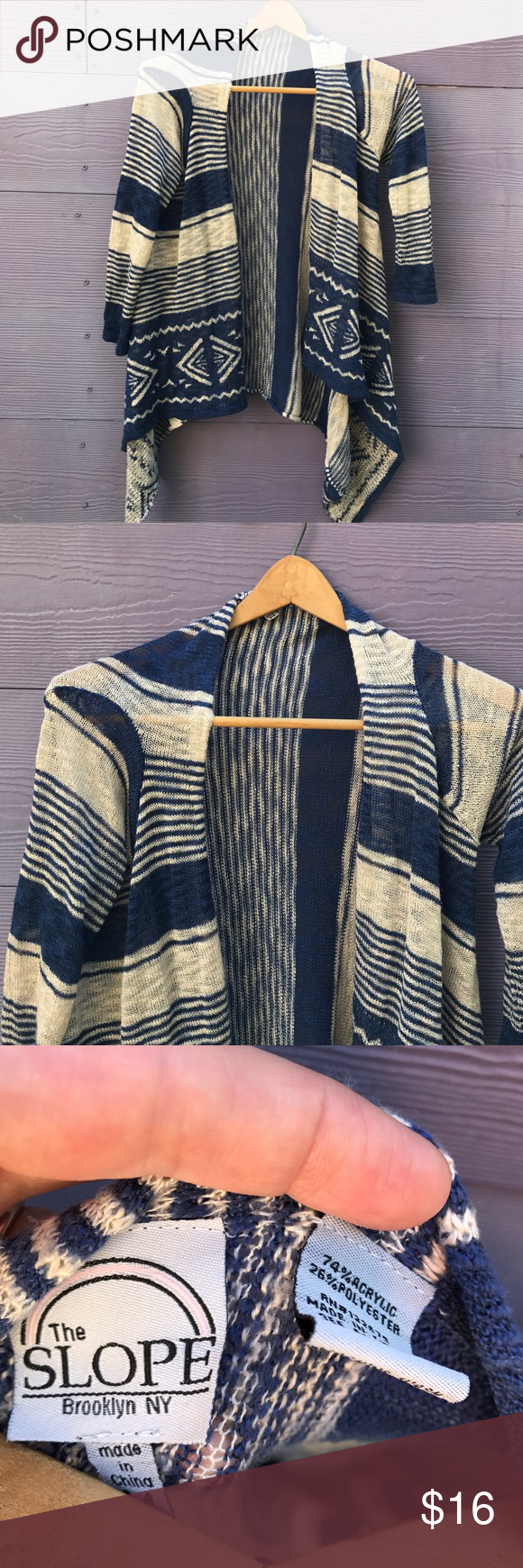 """Slope Waterfall Sweater A nice lightweight waterfall sweater, size M, has been worn and is in nice shape. Shoulder to hem: 24"""", shoulder to lowest point: 35"""", pit to pit: 18"""". Acrylic/poly. Slope Sweaters Cardigans"""