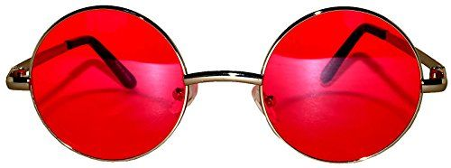 389175206eb Round Red Lens Sunglasses Silver Metal Frame Spring hinge ...