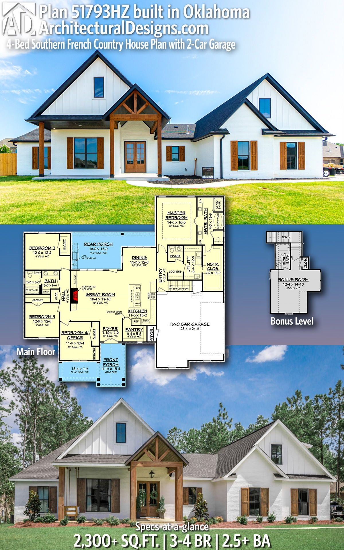 Plan 51793hz 4 Bed Southern French Country House Plan With 2 Car Garage French Country House Plans Country House Plan French Country House