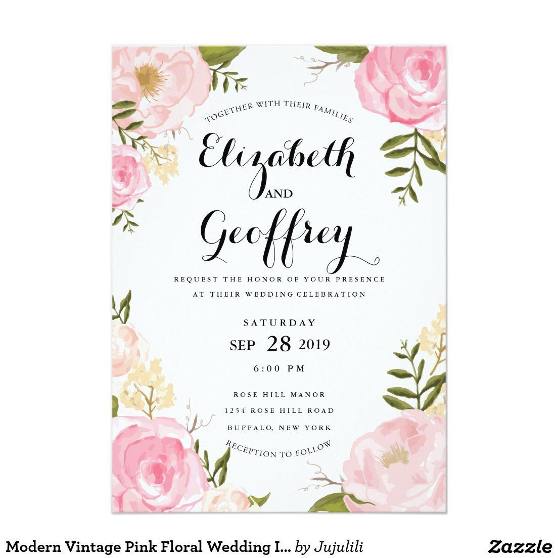 Modern Vintage Pink Floral Wedding Invitation | Floral wedding ...