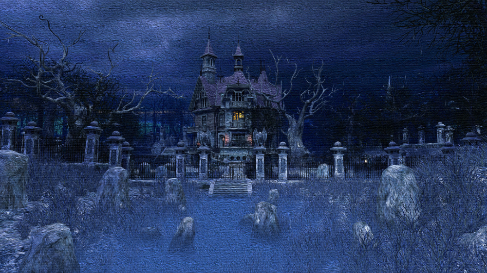 Haunted House Halloween Wallpapers 4k Full Hd Mobile Desktop Everesthill Com Halloween Haunted Houses Halloween Wallpaper Blue Background Images