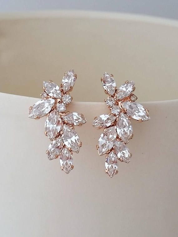 1a2a1046f9c9 Bridal rose gold earrings