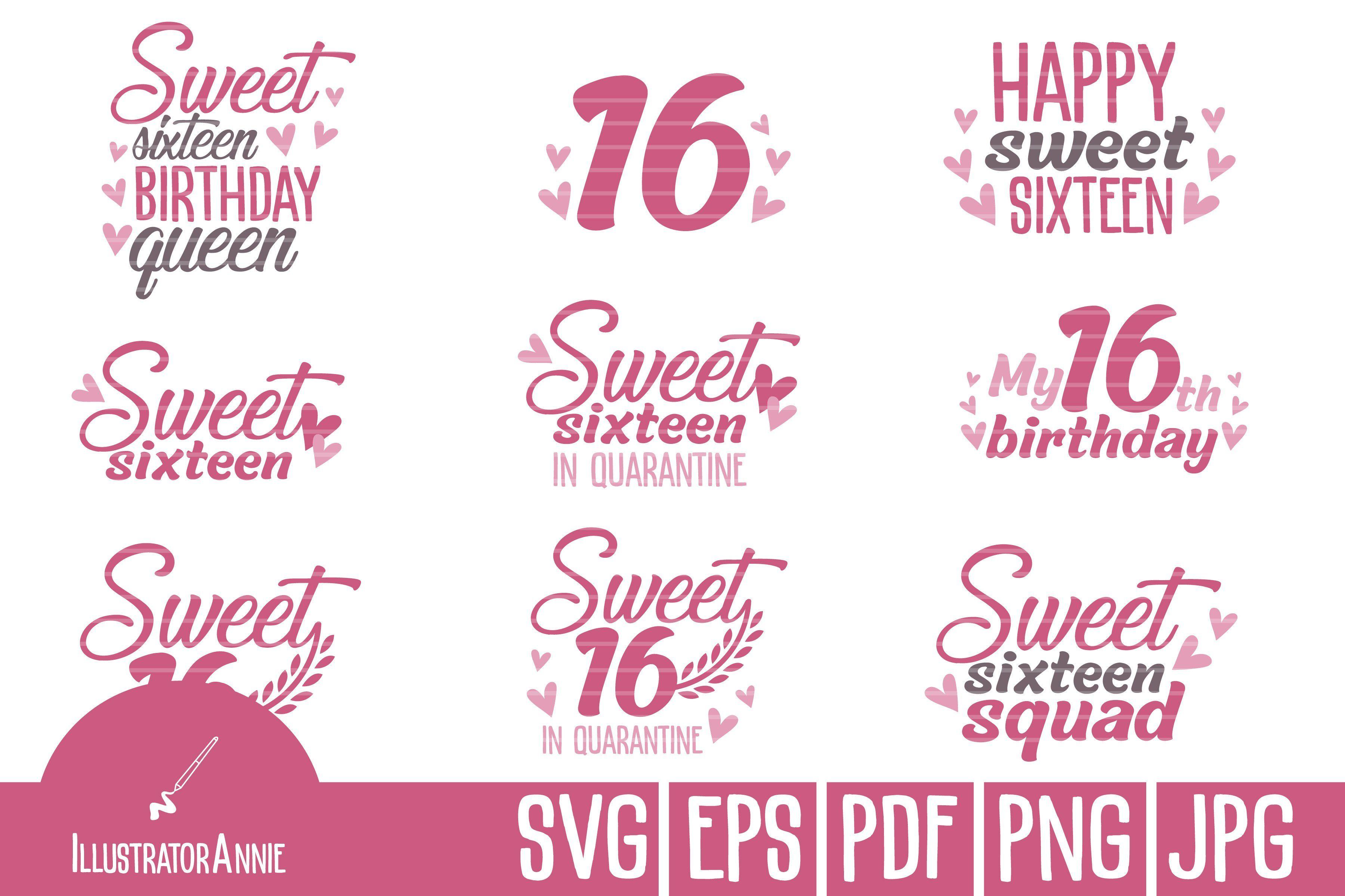 Sweet 16 Svg Bundle Svg Happy 16th Birthday Sweet 16