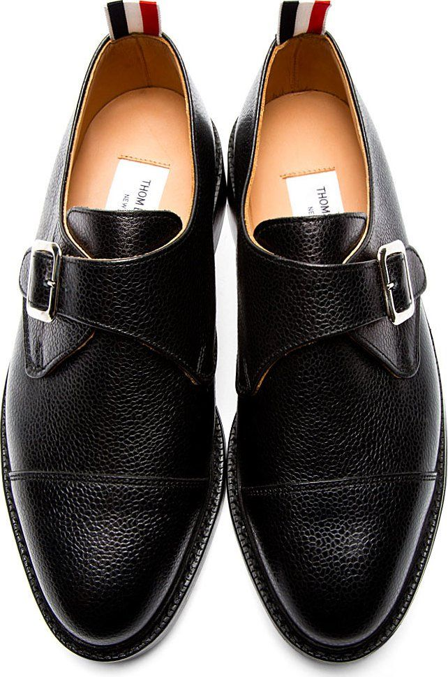 ff0815a3abe1 Thom Browne Black Pebbled Leather Monk Buckle Shoes