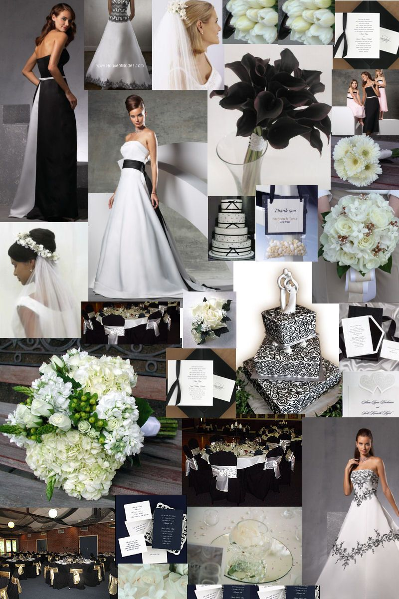 Black and white wedding dresses glamourous gowns for Black and grey wedding dress