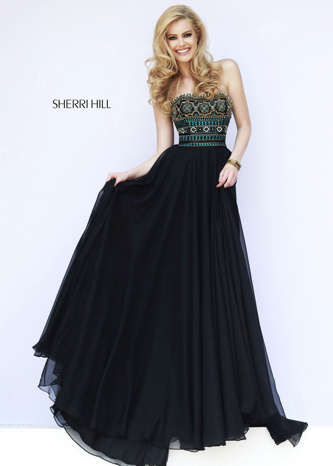 Sherri Hill 11175 Black Multi Strapless Chiffon Dress