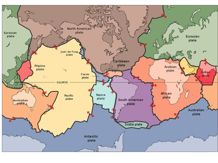 Map of Earthu0027s tectonic plates Science for Secondary Grades - copy world map with ocean trenches