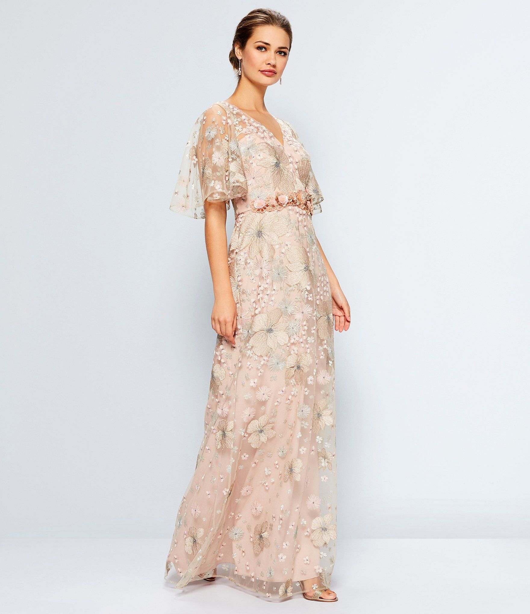 Outdoor Wedding Mother Of The Bride Dresses: David Meister Soft Embroidered Beaded Gown