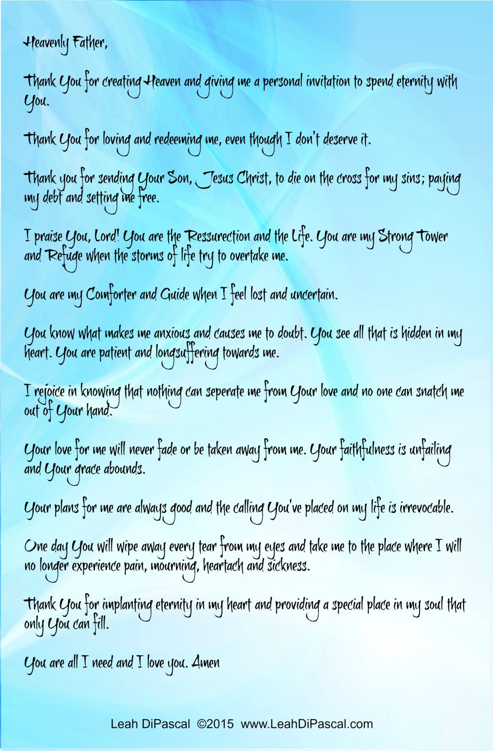 heaven prayer for when you ve experienced the lost of a loved one