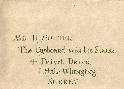 The Cupboard Under The Stairs 4 Privet Drive Little Whinging Surrey Harry Potter Letter Harry Potter Hogwarts Letter Harry James Potter