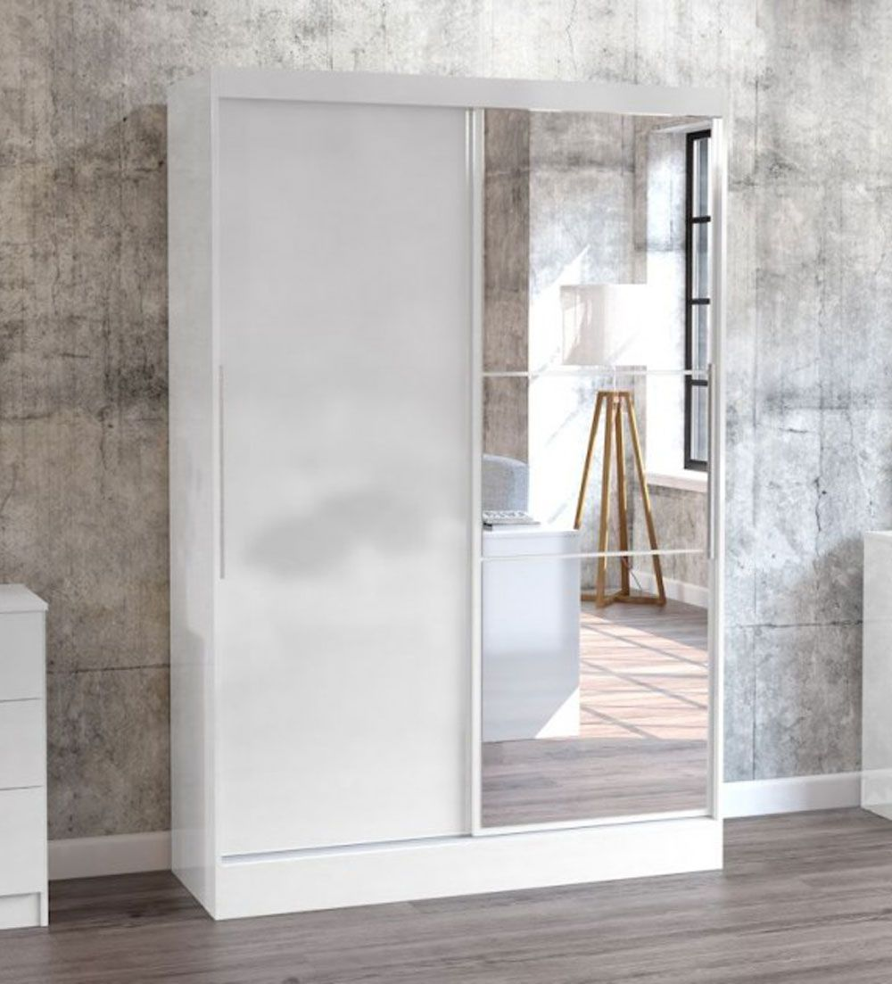 Links High Gloss White 2 Sliding Door Wardrobe With Mirror High