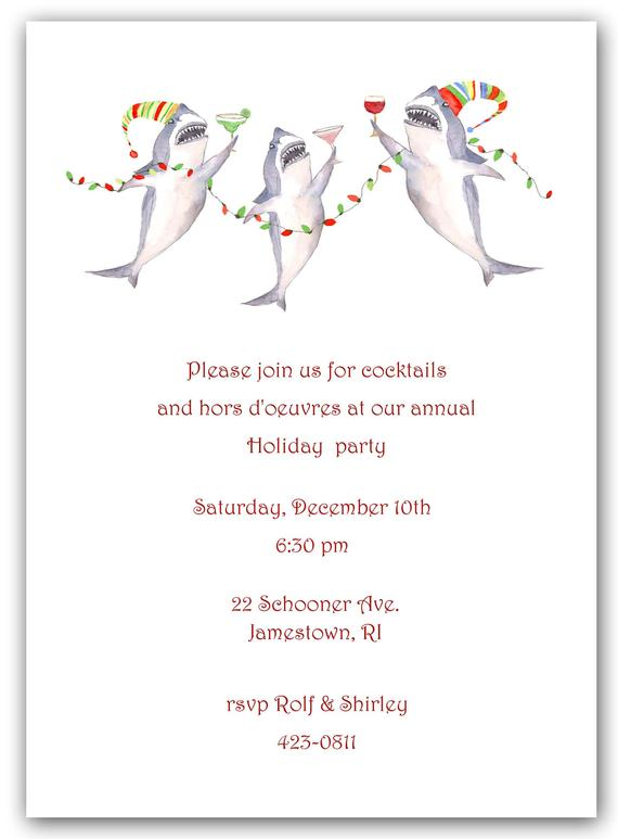 Holiday Tail Sharks Invitations Party Nautic