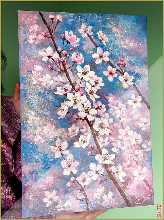 Cherry Blossom Painting Flower Large Vertical Wall Art Cherry Tree Paintings On Canvas Origin Cherry Blossom Painting Cherry Blossom Art Oil Painting Flowers